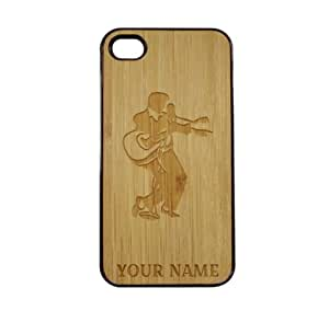 SudysAccessories Personalized Customized Custom Elvis Presley On Wood Engraved Black iPhone 4 Case - For iPhone 4 4S 4G - Designer Real Bamboo Back Case Verizon AT&T Sprint(Send us an Amazon email after purchase with your choice of NAME)