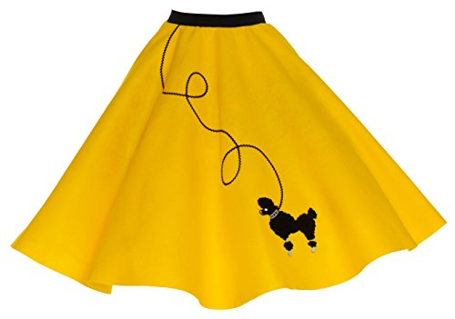 [Hip Hop 50s Shop Adult Poodle Skirt Yellow 3X/4X] (Greaser Outfit)