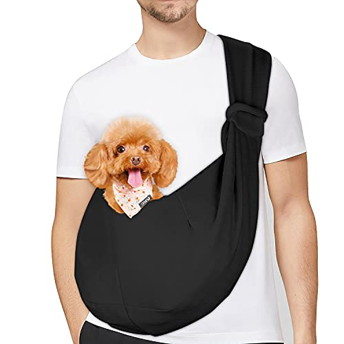 PETLOFT Bolso Bandolera Transportín, Reversible Bolso Porta Mascotas Sling, No Ajustable Bolsa de Hombro Cruzada para Perro con Gancho de Collar para Perros/Gatos/Conejos de hasta 11 Libras - Negro