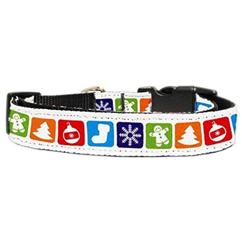Mirage Pet Products Classic Christmas Nylon Ribbon Collar for Dogs, Medium