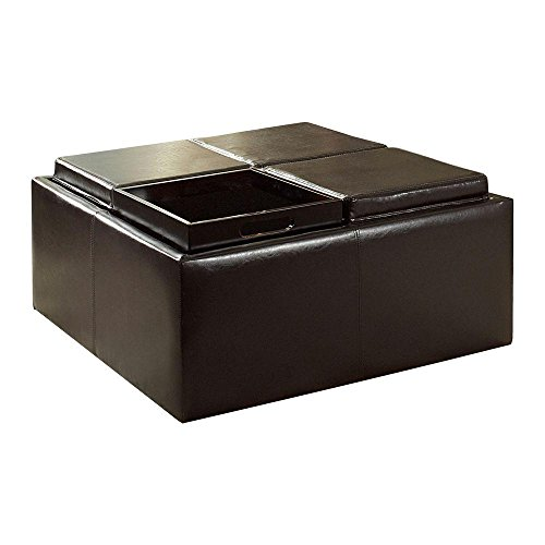 Dark Brown Vinyl Storage Ottoman with Four Trays by HomeSullivan