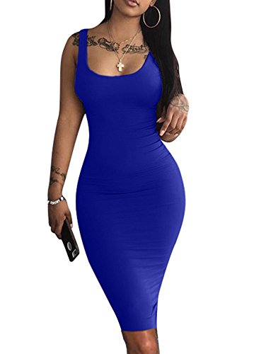 LAGSHIAN Women's Sexy Bodycon Tank Dress Sleeveless Basic Midi Club Dresses Royal Blue