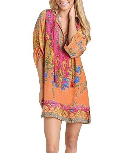 Style Orange Vintage Robe Imprim ShiFan Femmes Mini Ethnique Robe Cravate Cou Bohme wOPwU6q0g