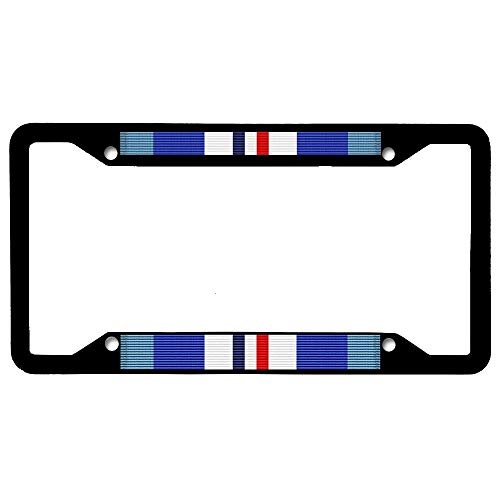 Merchant Marine Commemorative Ribbon Customized License Plate Frame Tag, Car License Plate Cover, 4 Holes Black Stainless Steel Car License Plate Holder