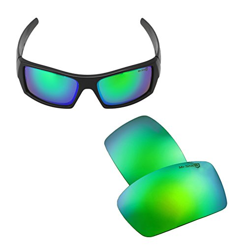 Walleva Replacement Lenses for Oakley Gascan Sunglasses - 21 Options Available (Emerald - Mr. Shield - Replacement Lenses Gascan