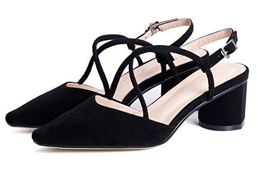 Mujer Puntiagudo Dedo del pie Slingback Sandalias Medio Alto Tacón Ante Tobillo Correas Zapatos Casual Zapatillas Trabajo BLACK