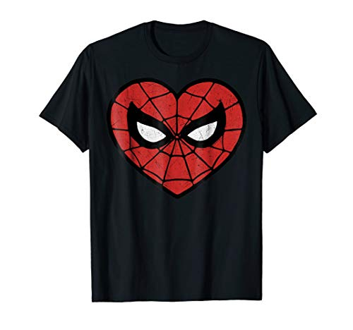 Marvel Spider-Man Face Mask Valentine's Heart Logo T-Shirt ()