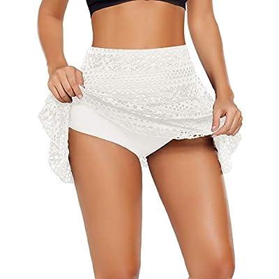 ACKKIA Women's Lace Crochet Skirted Bikini Bottom Swimsuit Short Skort Swimdress: Clothing