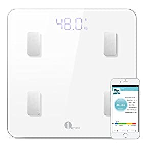 1byone Digital Smart Wireless Body Fat Scale with IOS and Android App to Manage Body weight, Body Fat, Water, Muscle Mass, BMI, BMR, Bone Mass and Visceral Fat, White