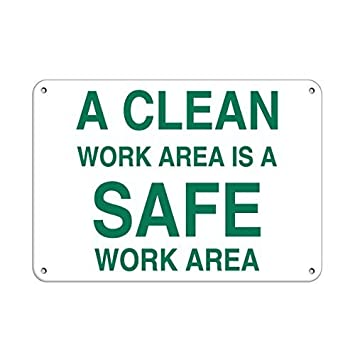 amazon com personalized metal signs a clean work area is a safe