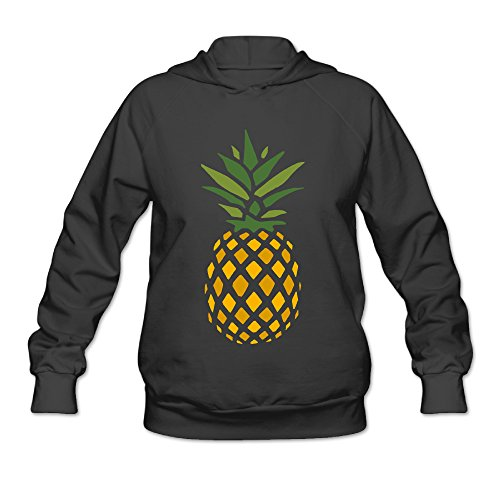 DVPHQ Women's Superior Creative Pineapple Right Down Hoodie Size S Black (2)