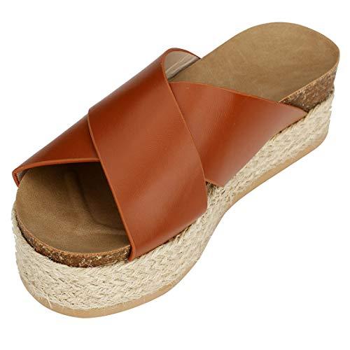 Platform Espadrilles Sandals, Women\'s Criss Cross Slide-on Open Toe Studded Summer Sandals Casual Shoes (Brown,7.5 M - Platform Braided