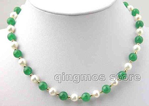 (FidgetFidget Sale Fashionable 7-8mm Natural White Pearl & Green Jade Necklace-1079)