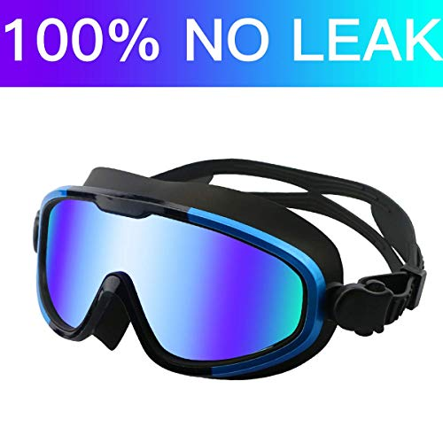Aquior Blue Swim Goggles, Big Frame Swimming Glass Leakproof Anti Fog UV Protection, 180 Wide-Vision Swim Mask Goggles for Adult Youth Men Women