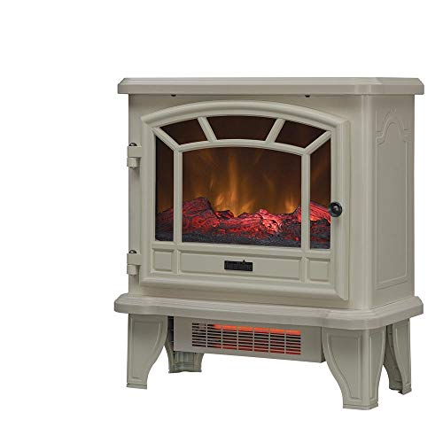 Duraflame Electric Fireplace Stove 1500 Watt Infrared Heater with Flickering Flame Effects - Cream