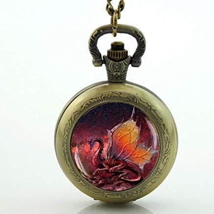 Red Dragon Pocket Watch,Glass Locket Necklace,Antique Pocket Watch Necklace, Dragon - Antique Glass Locket