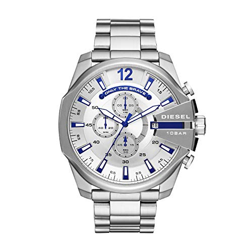 Diesel Silver Black Band Watch - Diesel Men's Mega Chief Quartz Watch with Stainless-Steel Strap, Silver, 12 (Model: DZ4477)