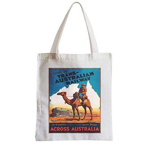 Große Tasche Sack Einkaufsbummel Strand Schüler Trans Australian Rail Travel Australien Vintage Reise-Plakat Retro-Werbung