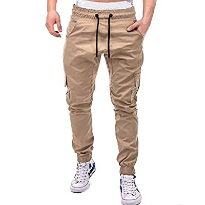 Mens Sweatpants, F_Gotal Men's Casual Solid Slim Fit Stretch Elastic Waist Sports Jogger Pants Trouser with Pockets at  Men's Clothing store