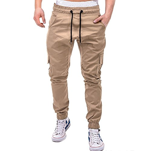 COPPEN Men Pant Sport Pure Color Bandage Casual Loose Sweatpants Drawstring Khaki