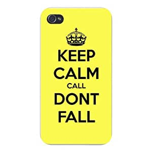 Apple Iphone Custom Case 4 4s Snap on - Keep Calm Call Don't Fall