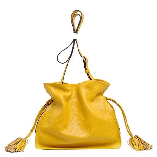 Yy.f Nuevo Caramelo Bolsa Bolsa De Cubo Messenger Bag La Primera Capa De Bolsos De Cuero Bolsa De Color Sólido Multi-color Brown
