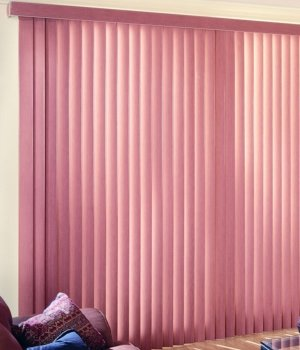 Made-to-Order Super Saver Vertical Blinds, Fabric, 78W x 84H, Contrast - Blinds Doors For Sliding Bamboo