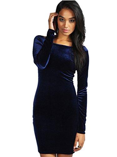 Babyonlinedress Vestido lápiz de material de terciopelo cuello horizontal manga larga vestido corta de fiesta azul oscuro