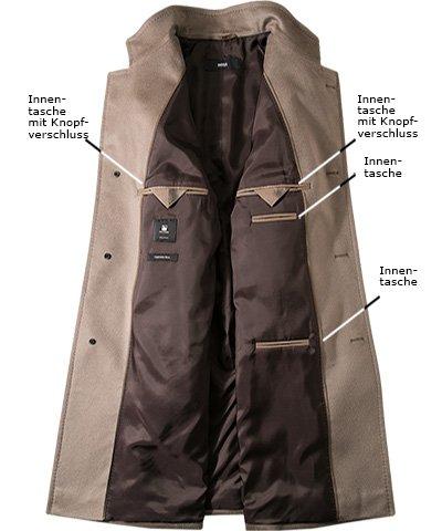 HUGO BOSS Herren Mantel Kaschmir Warme Jacke Unifarben, Größe: 50, Farbe: Beige