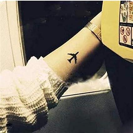 LFVGUIOP Aviones de avión Negro Tatuaje Falso Impermeable Brazo ...