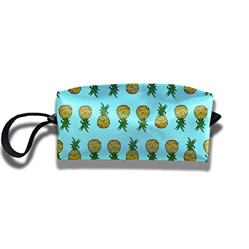 Cosmetic Bags With Zipper Makeup Bag Pineapple On Light Turquoise Brick Middle Wallet Hangbag Wristlet -