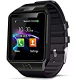 Smart Watch Fitness Tracker, 321OU Bluetooth Smart Watch Touchscreen Smartwatch with SIM SD Card Slot Camera Call/Message Reminder Pedometer Music Player Compatible Android and iOS Phone (Black)