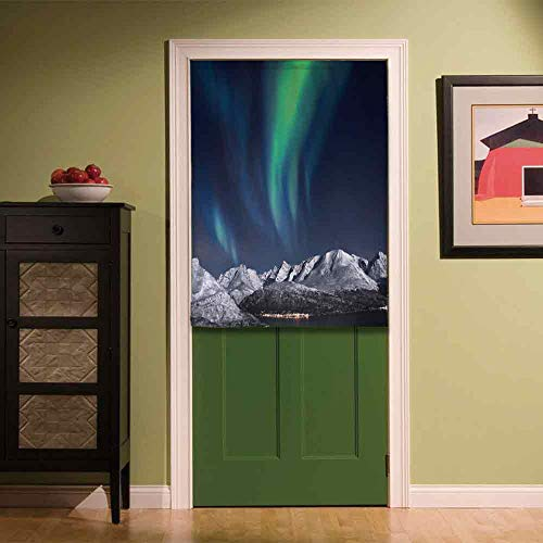 YOLIYANA Sky Decor Stylish Door Curtain,Northern Lights Aurora Over Fjords Mountain at Night Norway Solar Image Art for Bar Home Office Décor,35.43''W x 47.24''H ()
