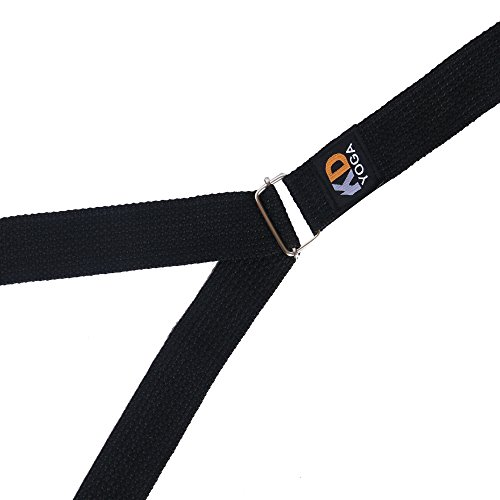 KD Yoga Fitness Exercise Strap Pack of 2 Black Rectengular-Ring 8ft for Stretching, Dance, Pilates and Physical Therapy Adjustable Buckle D Ring Buckle Yoga Belt Durable Cotton Exercise Straps
