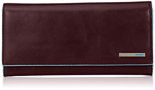 Piquadro Flap Over Women's Leather Wallet with Two Gussets Coin Pocket, Mahogany, One Size by Piquadro