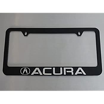 Amazon.com: Acura license plate frame, glossy black metal, Brushed ...