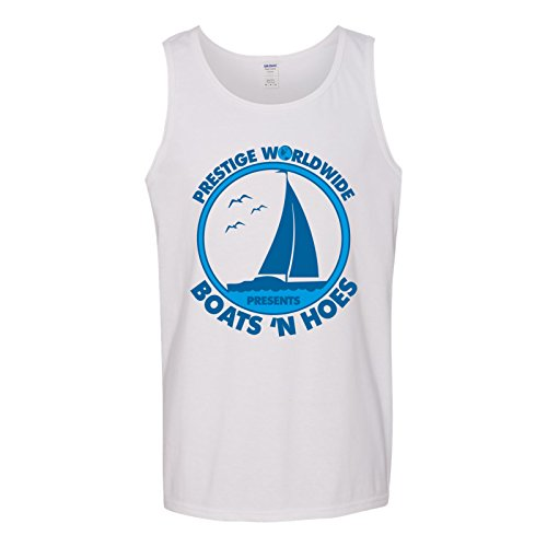 (UGP Campus Apparel Prestige Worldwide Presents Boats 'n Hoes - Funny Summer Tank Top - X-Large - White)