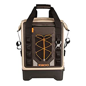 Igloo Sportsman Waterproof Backpack Cooler, Tan/Black/Orange, 17 quart (16 L)