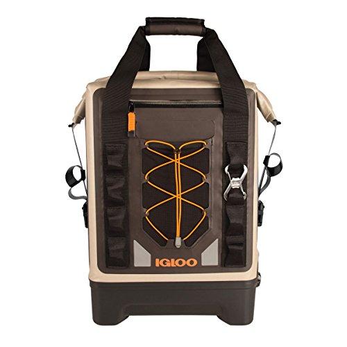 Igloo Sportsman Waterproof Backpack Cooler, Tan/Black/Orange, 17 Quart (16 L)