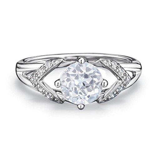 Avon Sterling Silver White Genuine Topaz Ring - White - Size 6 (Avon Jewellery)