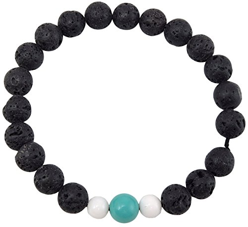 Volcanic natural lava yoga meditation healing wrist mala bracelet CL-4 (Lava, Turquoise, and Conch (Turquoise Conch Shell)
