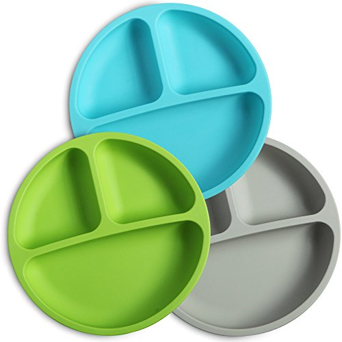 Toddler Silicone (WeeSprout Silicone Divided Toddler Plates - 3 Pack - Easy to Clean - Dishwasher and Microwave Safe - Soft, Skid Resistant and Unbreakable - FDA/LFGB Certified Silicone - Great for Baby or Older Kids)