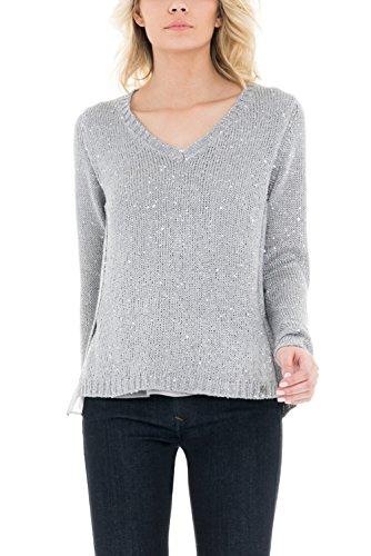 SALSA Camiseta manga larga gris punto cuello v Gris