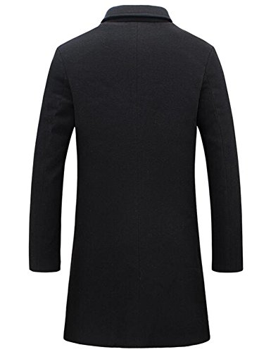 Review Mens Trench Coat Slim Fit Notched Collar Overcoat (M, Black)