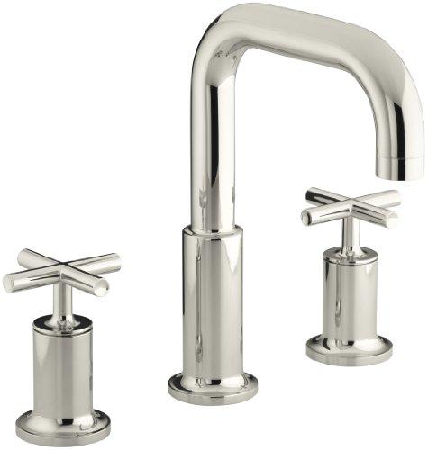KOHLER K-T14428-3-SN Purist Deck-Mount High-Flow Bath Faucet Trim with Cross Handles, Valve Not Included, Vibrant Polished Nickel (Handle Deck Cross Valve)
