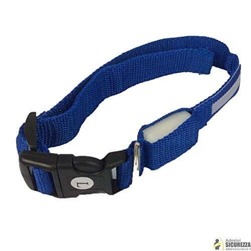 Collare luminoso lampeggiante a LED per gatto o cani piccola taglia a sgancio rapido - Blu, larghezza 2.5 x lunghezza (35-43) cm