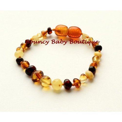 *NEW* SAFETY TENSION-RELEASE CLASP Bouncy Baby Boutique(TM) – B56 Multicolor Baltic Amber Teething Bracelet/Anklet, Baby & Kids Zone