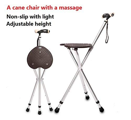 Cane Seat Massage Canes Chair Walking Stick Folding Cane Seat 300 lbs Capacity Type Light Adjustable Height Heavy Duty Portable Fishing Rest Stool with LED Light for Elder Parents Gift - Folding Stool Cane
