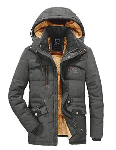 R RUNVEL Men's Winter Thicken Parka Coat Warm Fleece Jacket with Removable Hood