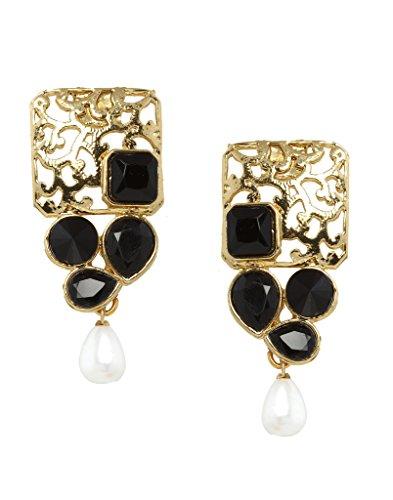 Bindhani Gold Plated Black Dangle & Drop Earring For Women